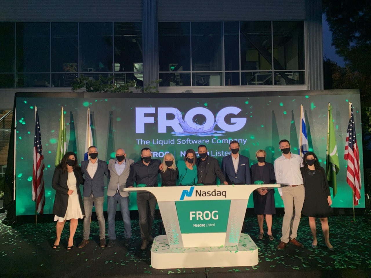 JFrog leadership rings the NASDAQ opening bell on IPO day